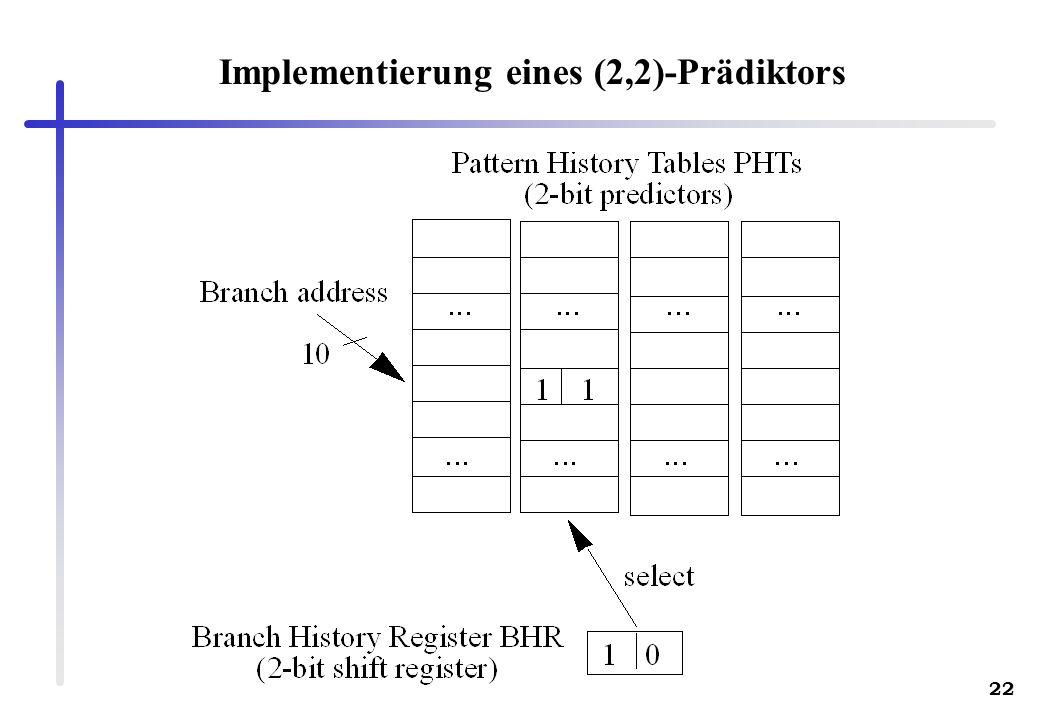 22 Implementierung eines (2,2)-Prädiktors