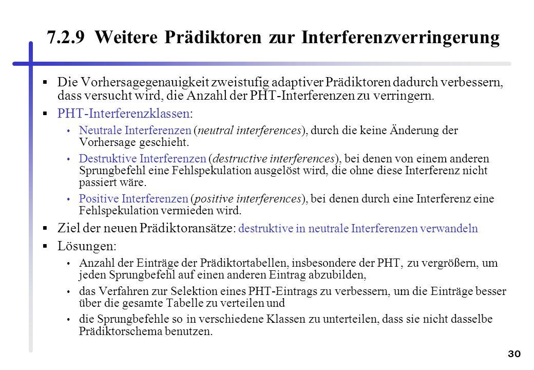 30 7.2.9 Weitere Prädiktoren zur Interferenzverringerung Die Vorhersagegenauigkeit zweistufig adaptiver Prädiktoren dadurch verbessern, dass versucht