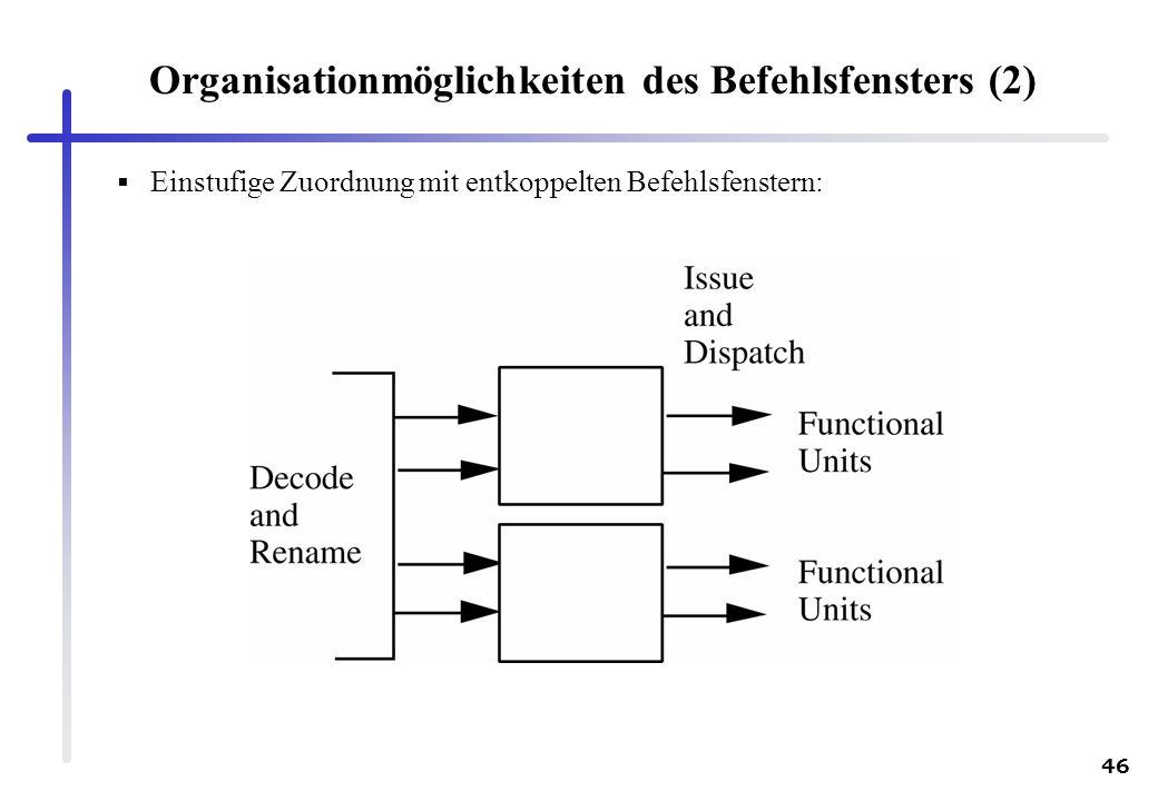 46 Organisationmöglichkeiten des Befehlsfensters (2) Einstufige Zuordnung mit entkoppelten Befehlsfenstern: