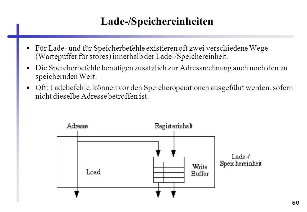 50 Lade-/Speichereinheiten Für Lade- und für Speicherbefehle existieren oft zwei verschiedene Wege (Wartepuffer für stores) innerhalb der Lade-/Speich