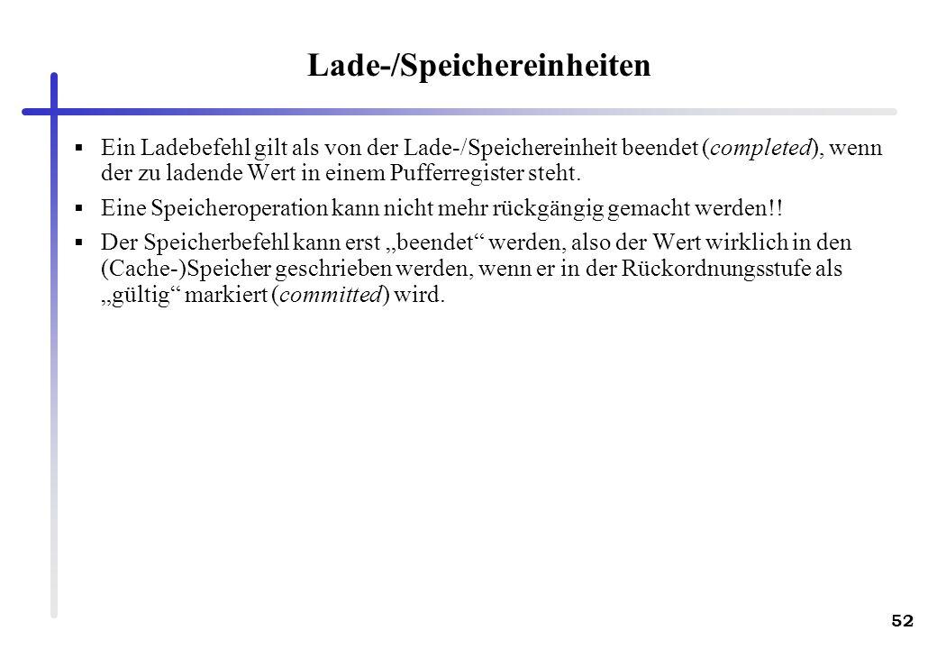 52 Lade-/Speichereinheiten Ein Ladebefehl gilt als von der Lade-/Speichereinheit beendet (completed), wenn der zu ladende Wert in einem Pufferregister