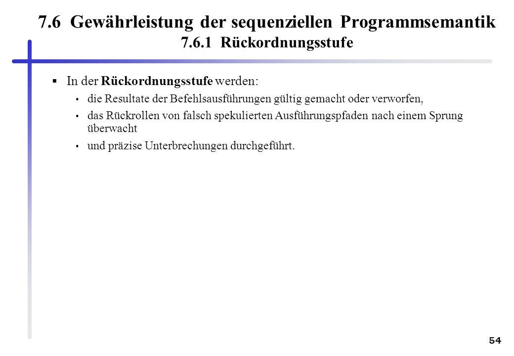 54 7.6 Gewährleistung der sequenziellen Programmsemantik 7.6.1 Rückordnungsstufe In der Rückordnungsstufe werden: die Resultate der Befehlsausführunge