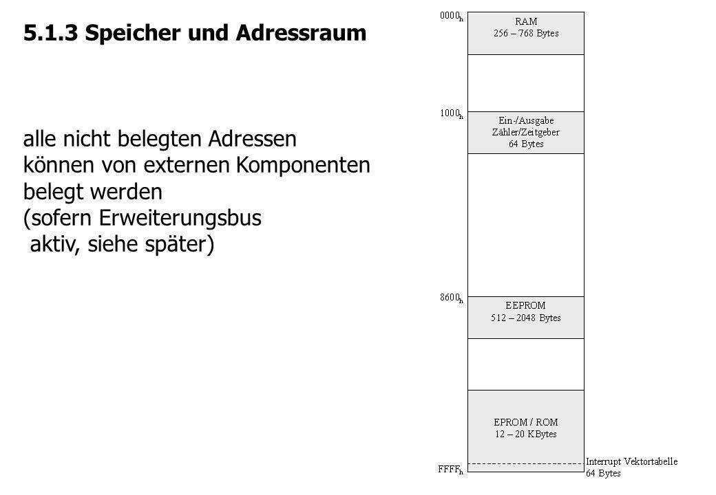 5.1.3 Speicher und Adressraum alle nicht belegten Adressen können von externen Komponenten belegt werden (sofern Erweiterungsbus aktiv, siehe später)