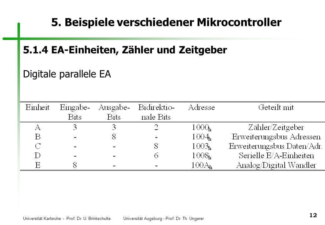 Universität Karlsruhe - Prof. Dr. U. Brinkschulte Universität Augsburg - Prof. Dr. Th. Ungerer 12 5. Beispiele verschiedener Mikrocontroller 5.1.4 EA-