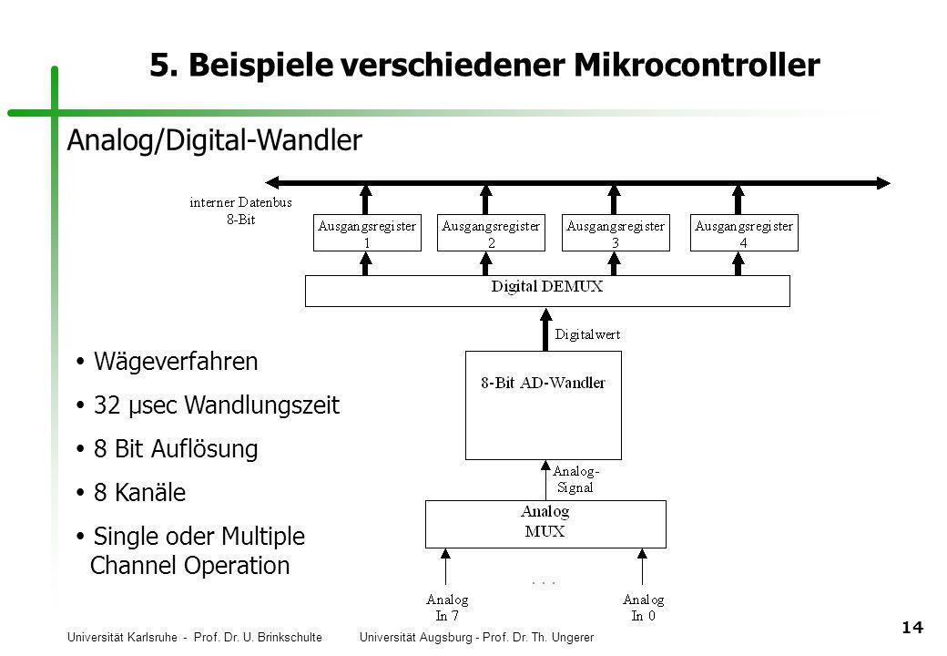 Universität Karlsruhe - Prof. Dr. U. Brinkschulte Universität Augsburg - Prof. Dr. Th. Ungerer 14 5. Beispiele verschiedener Mikrocontroller Analog/Di