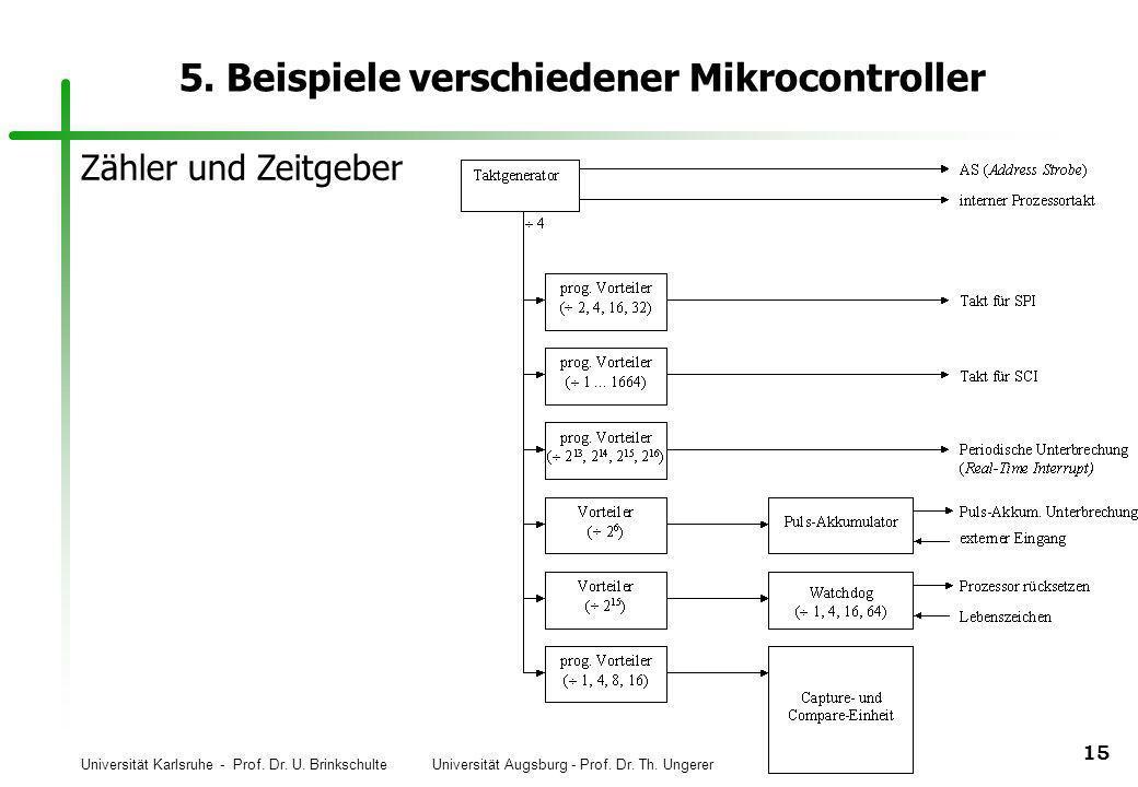 Universität Karlsruhe - Prof. Dr. U. Brinkschulte Universität Augsburg - Prof. Dr. Th. Ungerer 15 5. Beispiele verschiedener Mikrocontroller Zähler un