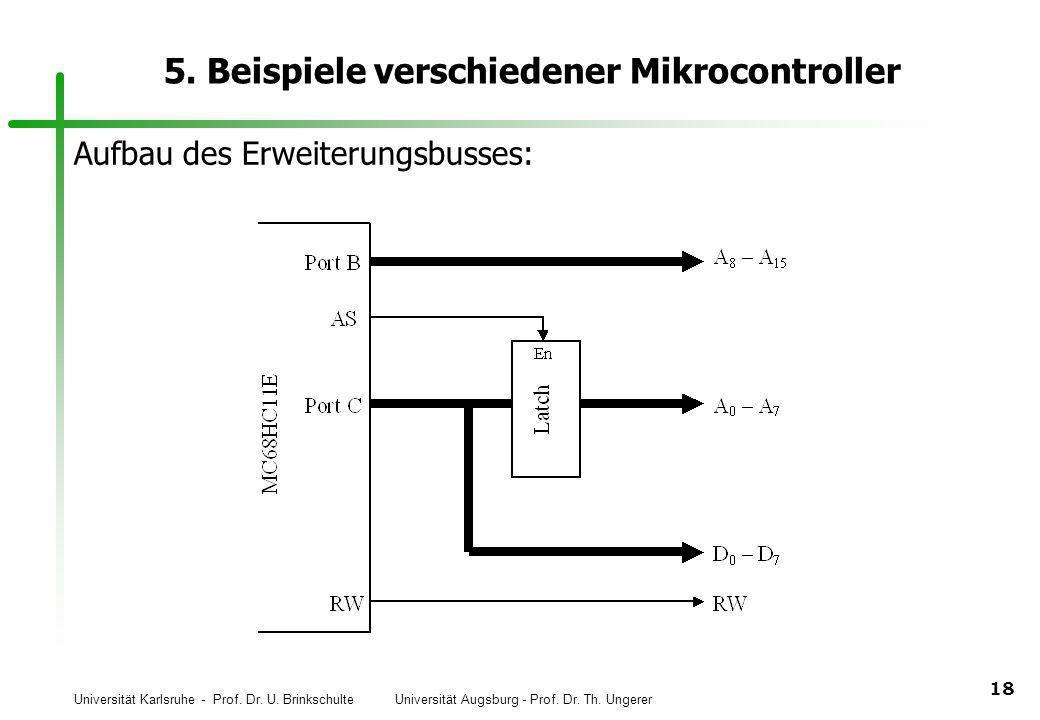 Universität Karlsruhe - Prof. Dr. U. Brinkschulte Universität Augsburg - Prof. Dr. Th. Ungerer 18 5. Beispiele verschiedener Mikrocontroller Aufbau de