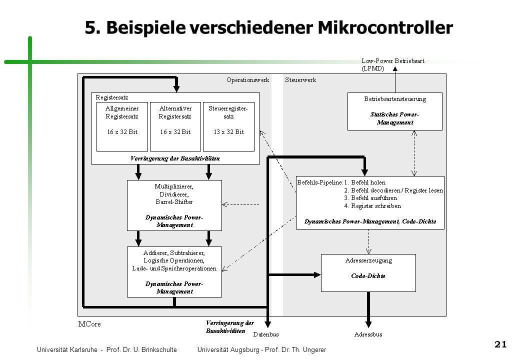 Universität Karlsruhe - Prof. Dr. U. Brinkschulte Universität Augsburg - Prof. Dr. Th. Ungerer 21 5. Beispiele verschiedener Mikrocontroller