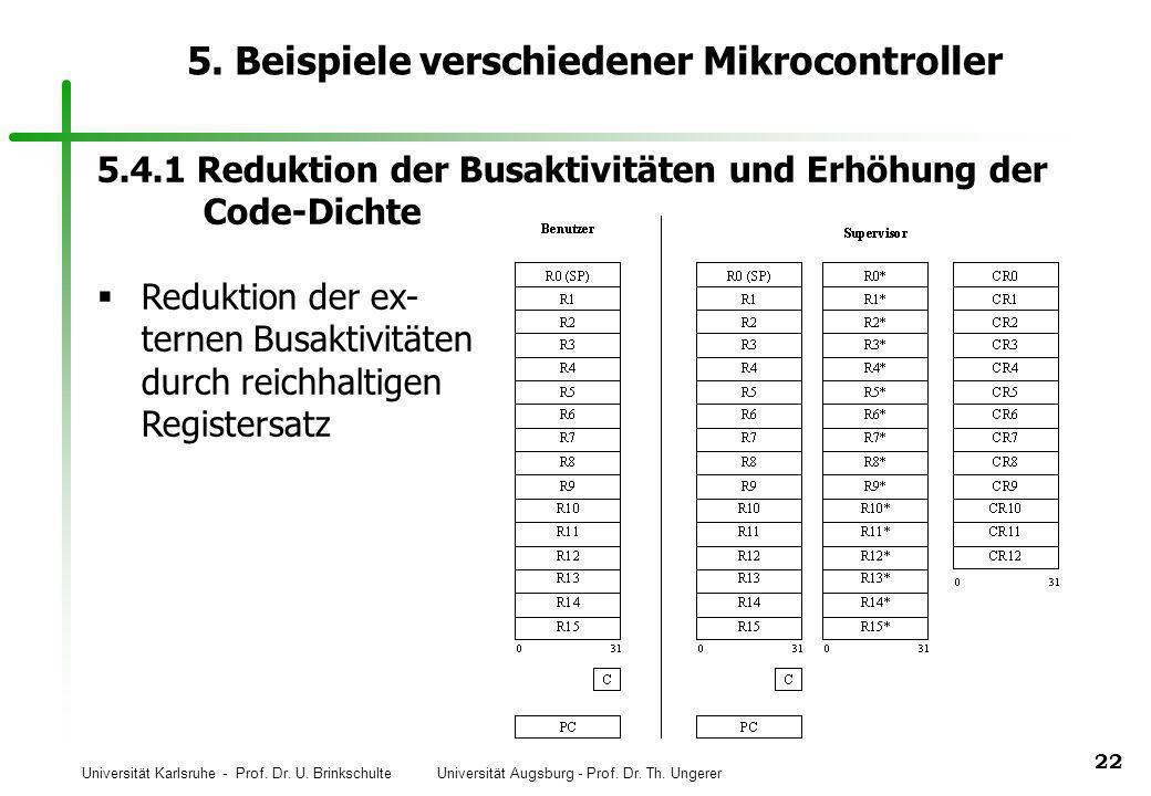 Universität Karlsruhe - Prof. Dr. U. Brinkschulte Universität Augsburg - Prof. Dr. Th. Ungerer 22 5. Beispiele verschiedener Mikrocontroller 5.4.1 Red