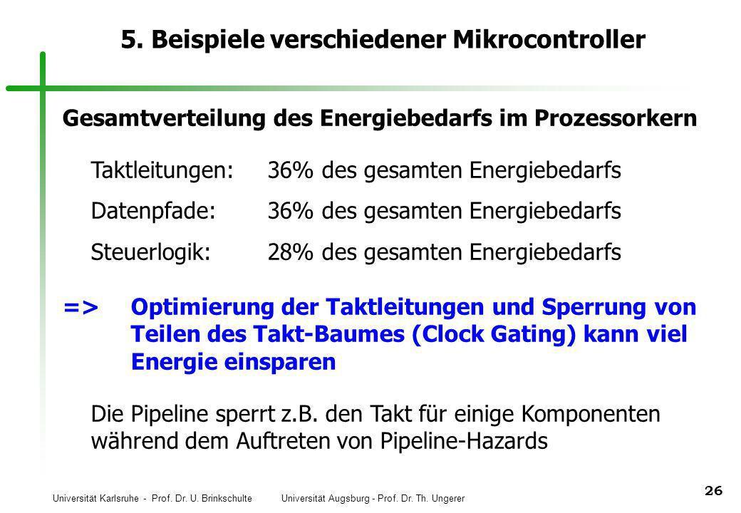 Universität Karlsruhe - Prof. Dr. U. Brinkschulte Universität Augsburg - Prof. Dr. Th. Ungerer 26 5. Beispiele verschiedener Mikrocontroller Gesamtver