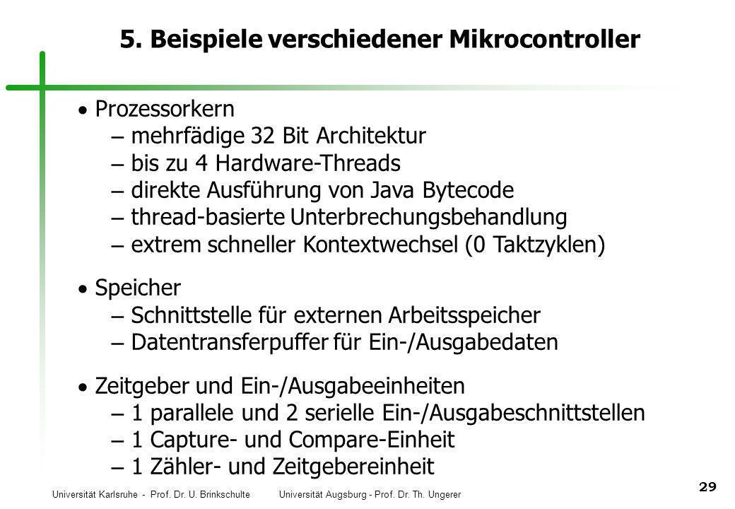 Universität Karlsruhe - Prof. Dr. U. Brinkschulte Universität Augsburg - Prof. Dr. Th. Ungerer 29 5. Beispiele verschiedener Mikrocontroller Prozessor