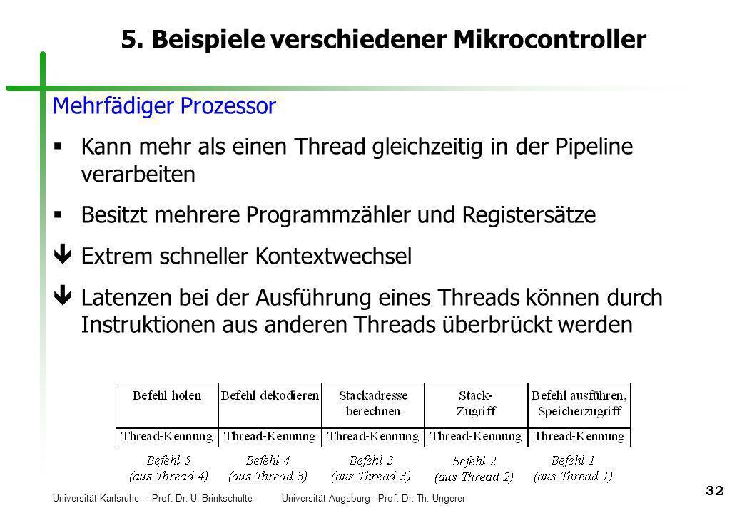 Universität Karlsruhe - Prof. Dr. U. Brinkschulte Universität Augsburg - Prof. Dr. Th. Ungerer 32 5. Beispiele verschiedener Mikrocontroller Mehrfädig