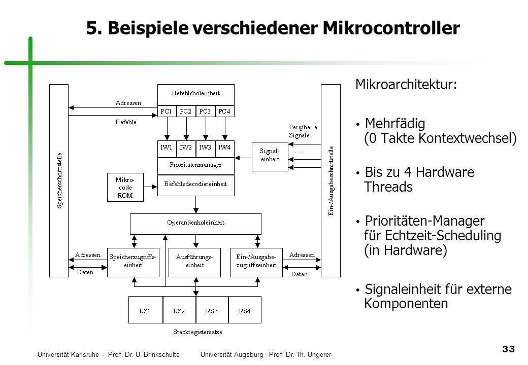 Universität Karlsruhe - Prof. Dr. U. Brinkschulte Universität Augsburg - Prof. Dr. Th. Ungerer 33 5. Beispiele verschiedener Mikrocontroller Mikroarch