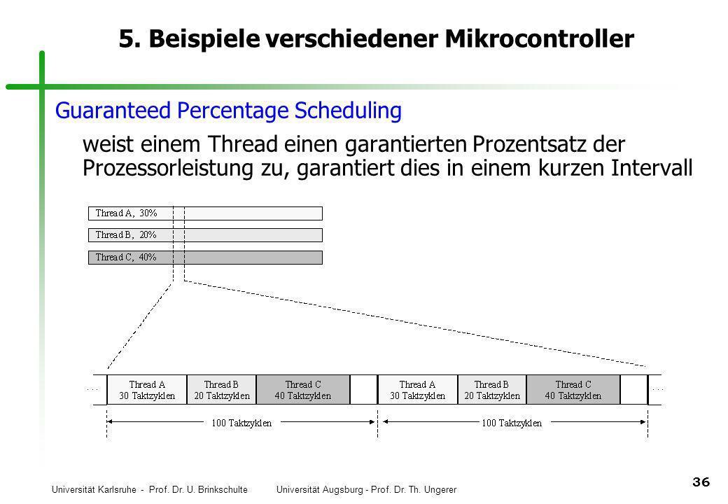 Universität Karlsruhe - Prof. Dr. U. Brinkschulte Universität Augsburg - Prof. Dr. Th. Ungerer 36 5. Beispiele verschiedener Mikrocontroller Guarantee