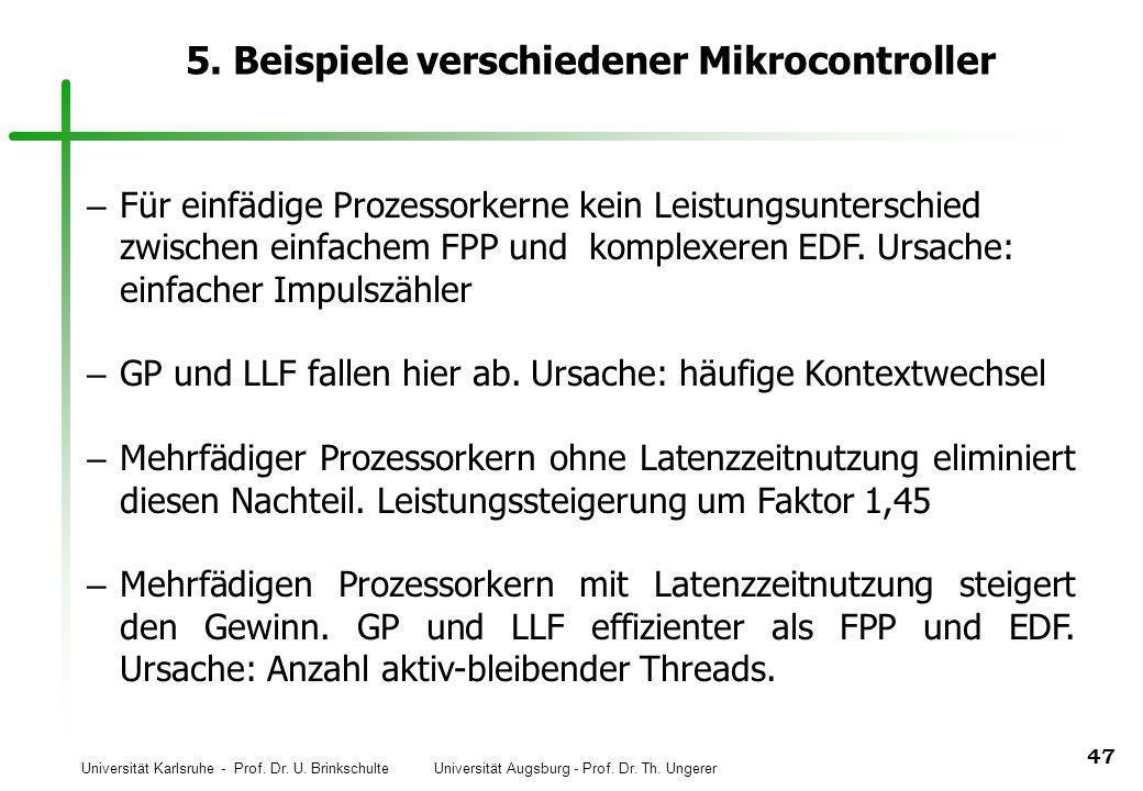 Universität Karlsruhe - Prof. Dr. U. Brinkschulte Universität Augsburg - Prof. Dr. Th. Ungerer 47 5. Beispiele verschiedener Mikrocontroller – Für ein