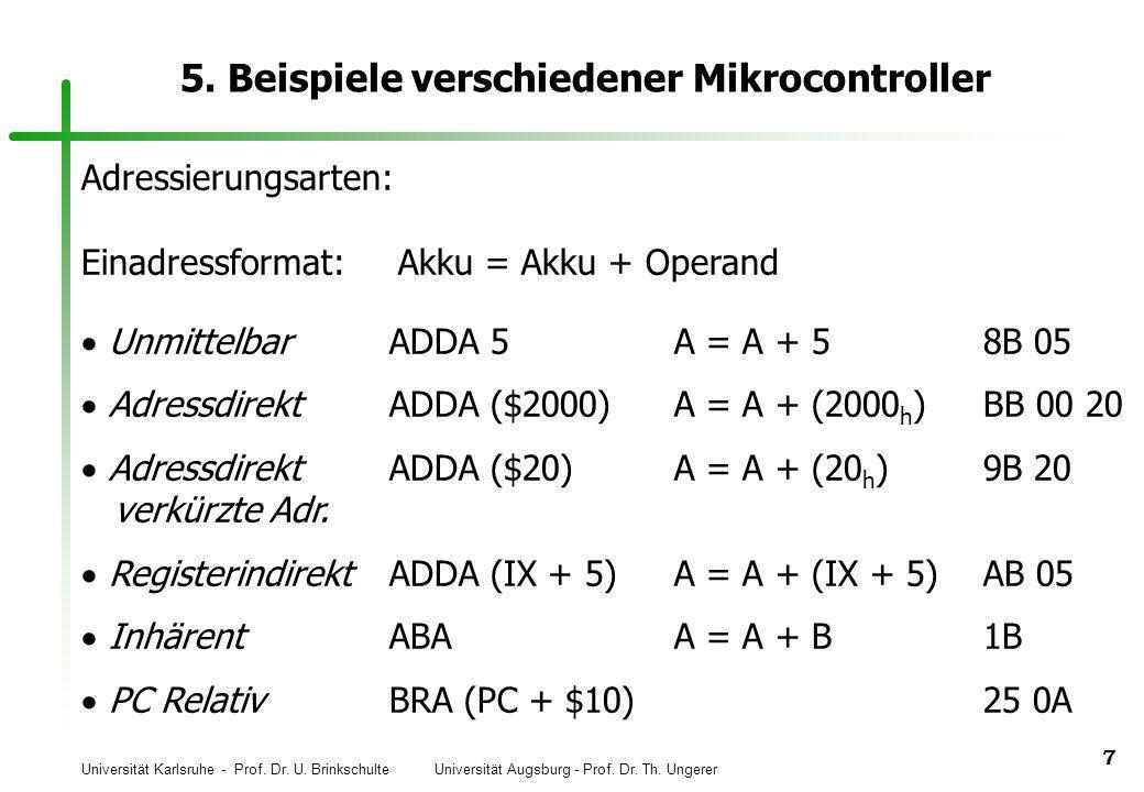 Universität Karlsruhe - Prof. Dr. U. Brinkschulte Universität Augsburg - Prof. Dr. Th. Ungerer 7 5. Beispiele verschiedener Mikrocontroller Unmittelba