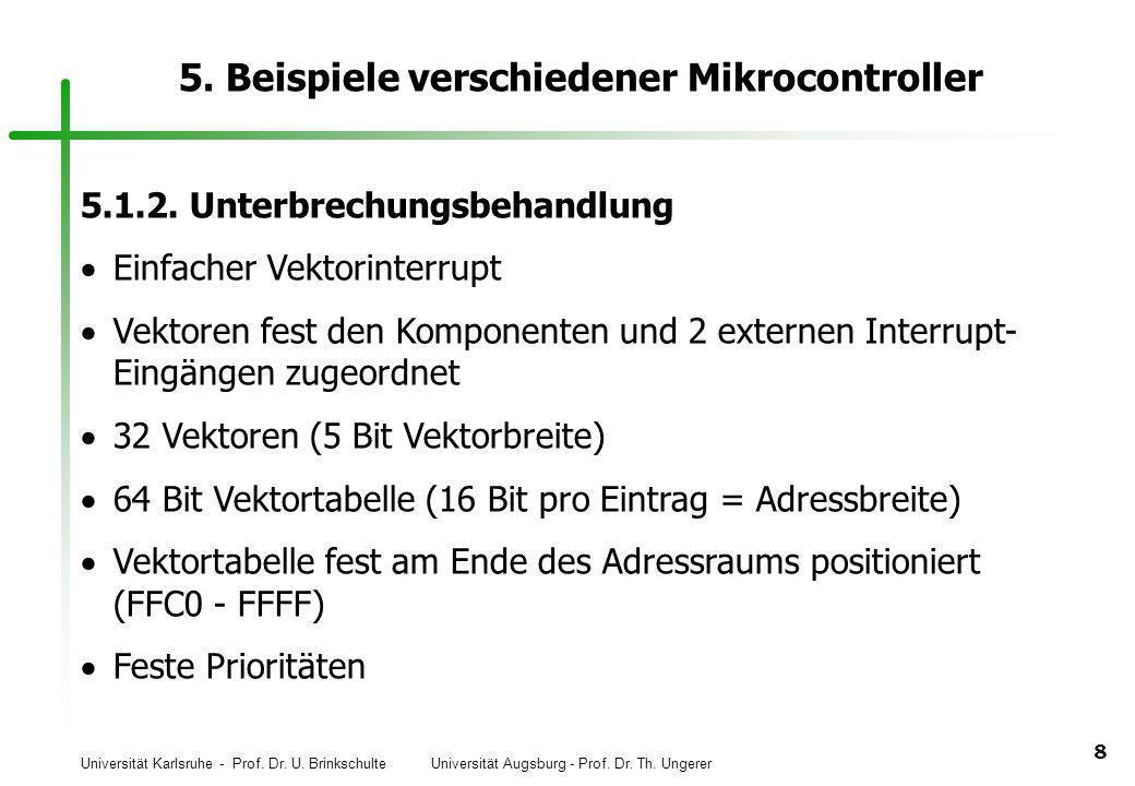 Universität Karlsruhe - Prof. Dr. U. Brinkschulte Universität Augsburg - Prof. Dr. Th. Ungerer 8 5. Beispiele verschiedener Mikrocontroller 5.1.2. Unt