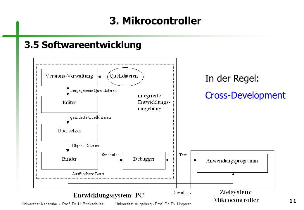 Universität Karlsruhe - Prof. Dr. U. Brinkschulte Universität Augsburg - Prof. Dr. Th. Ungerer 11 3. Mikrocontroller 3.5 Softwareentwicklung In der Re