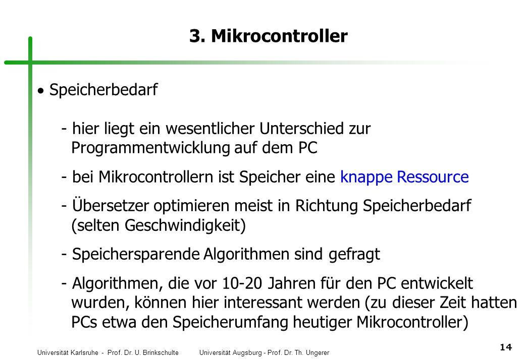 Universität Karlsruhe - Prof. Dr. U. Brinkschulte Universität Augsburg - Prof. Dr. Th. Ungerer 14 3. Mikrocontroller Speicherbedarf  hier liegt ein w