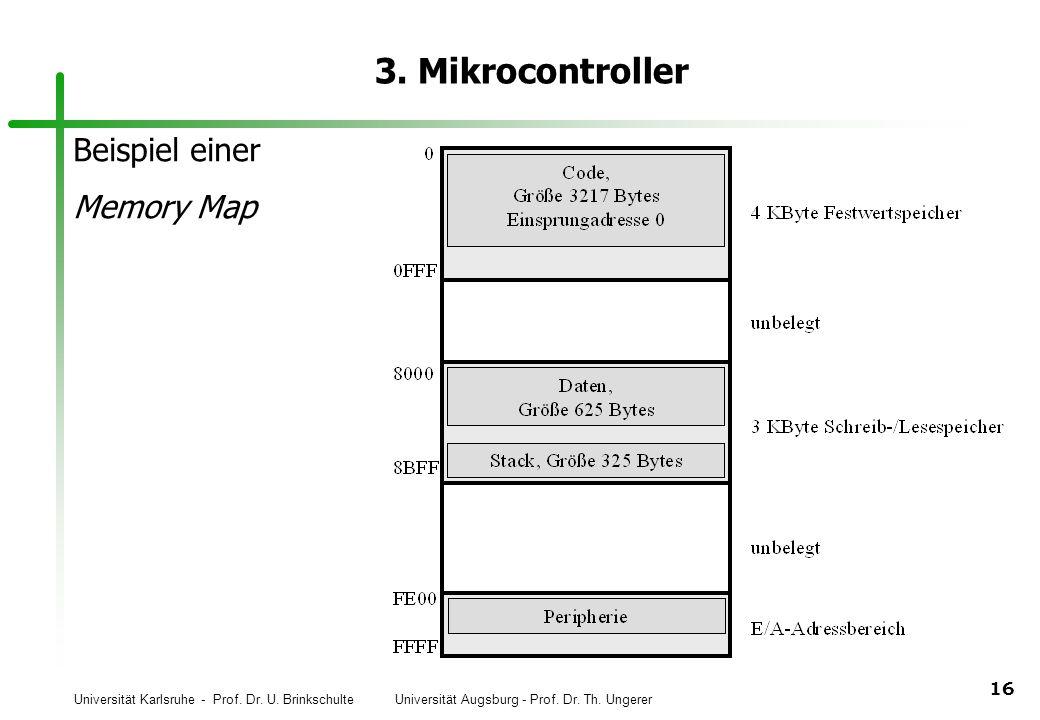 Universität Karlsruhe - Prof. Dr. U. Brinkschulte Universität Augsburg - Prof. Dr. Th. Ungerer 16 3. Mikrocontroller Beispiel einer Memory Map