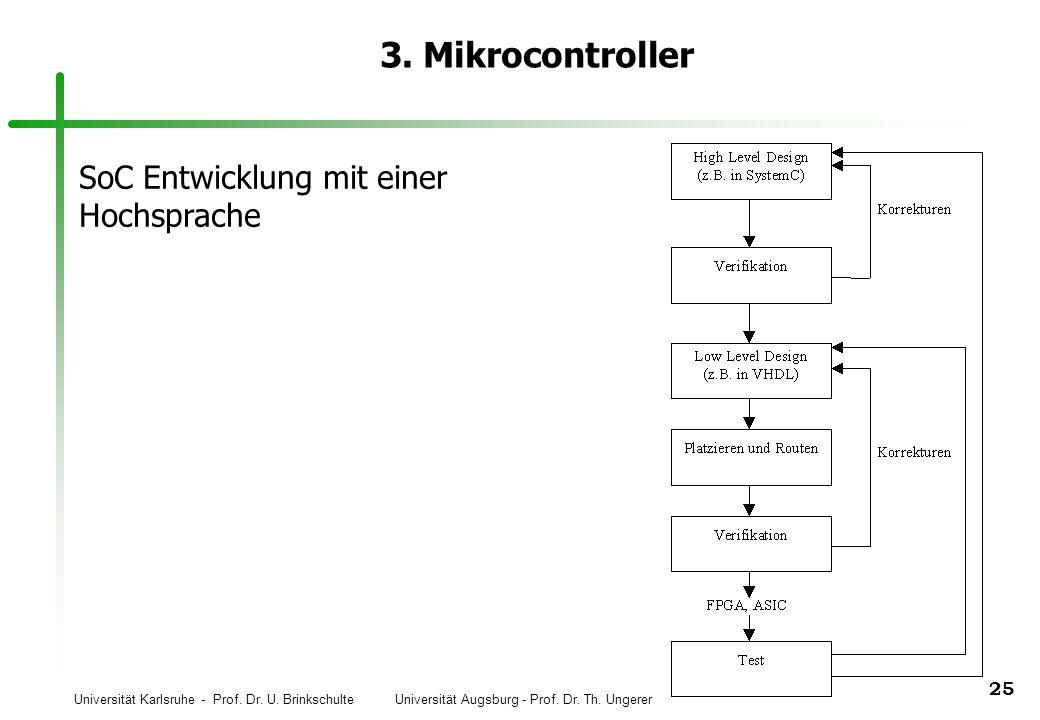 Universität Karlsruhe - Prof. Dr. U. Brinkschulte Universität Augsburg - Prof. Dr. Th. Ungerer 25 3. Mikrocontroller SoC Entwicklung mit einer Hochspr