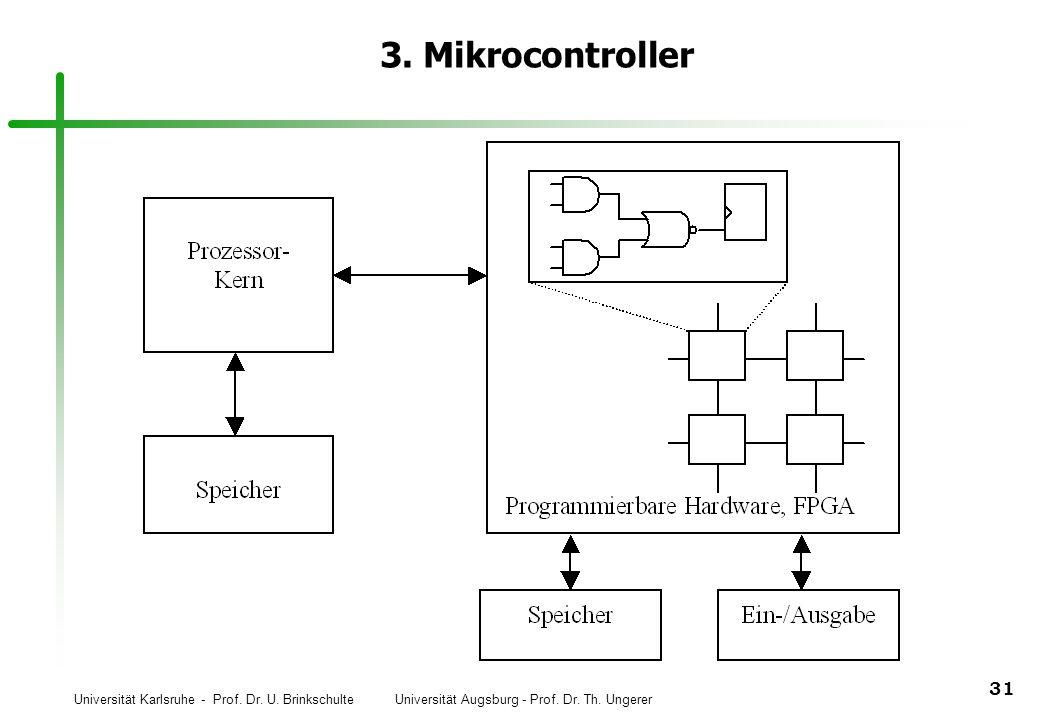 Universität Karlsruhe - Prof. Dr. U. Brinkschulte Universität Augsburg - Prof. Dr. Th. Ungerer 31 3. Mikrocontroller