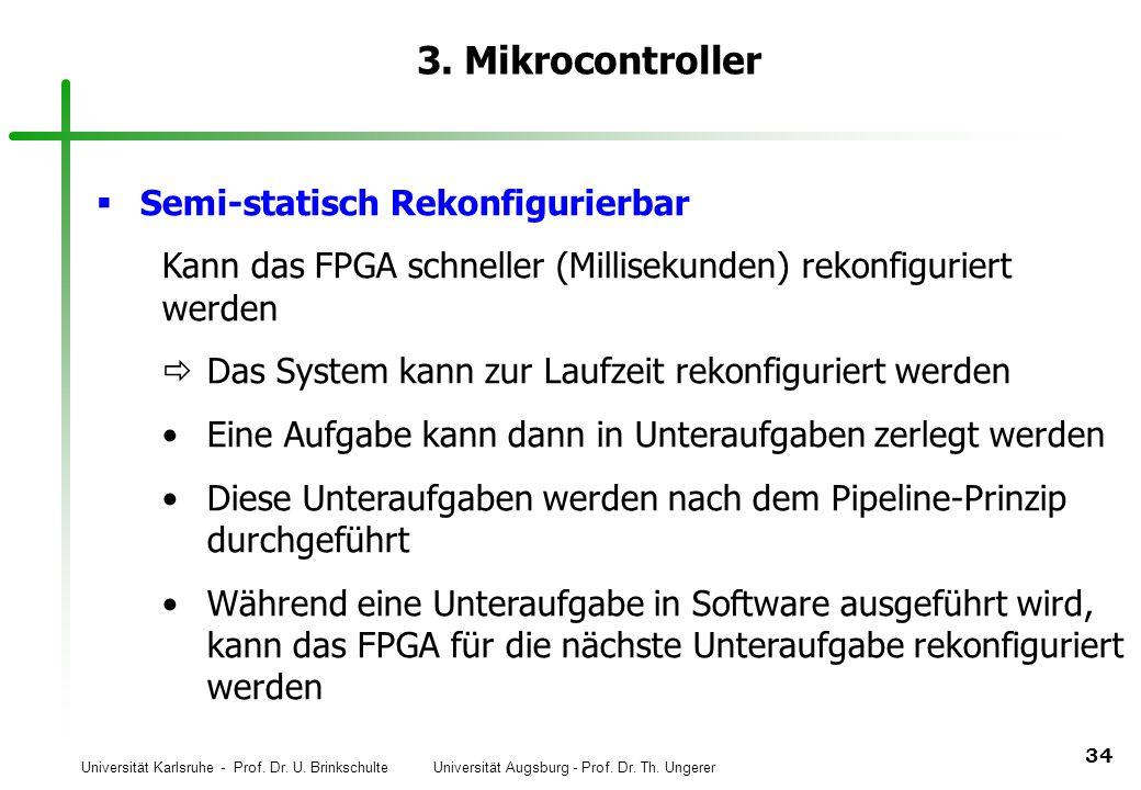 Universität Karlsruhe - Prof. Dr. U. Brinkschulte Universität Augsburg - Prof. Dr. Th. Ungerer 34 3. Mikrocontroller Semi-statisch Rekonfigurierbar Ka