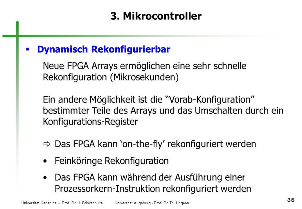 Universität Karlsruhe - Prof. Dr. U. Brinkschulte Universität Augsburg - Prof. Dr. Th. Ungerer 35 3. Mikrocontroller Dynamisch Rekonfigurierbar Neue F