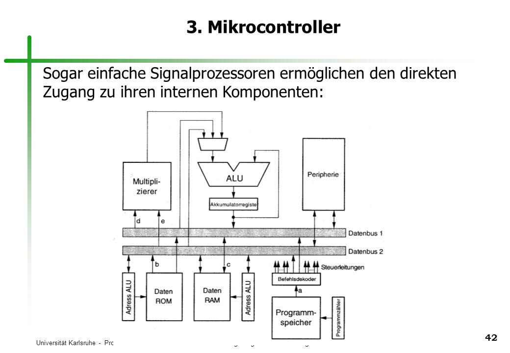 Universität Karlsruhe - Prof. Dr. U. Brinkschulte Universität Augsburg - Prof. Dr. Th. Ungerer 42 3. Mikrocontroller Sogar einfache Signalprozessoren
