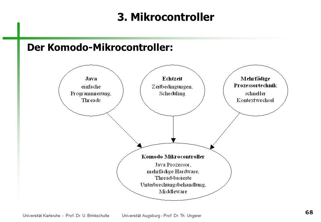 Universität Karlsruhe - Prof. Dr. U. Brinkschulte Universität Augsburg - Prof. Dr. Th. Ungerer 68 3. Mikrocontroller Der Komodo-Mikrocontroller: