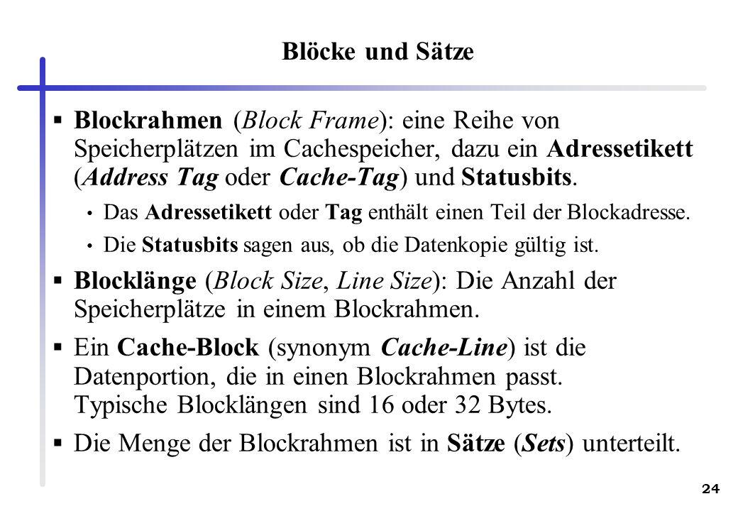 24 Blöcke und Sätze Blockrahmen (Block Frame): eine Reihe von Speicherplätzen im Cachespeicher, dazu ein Adressetikett (Address Tag oder Cache-Tag) un