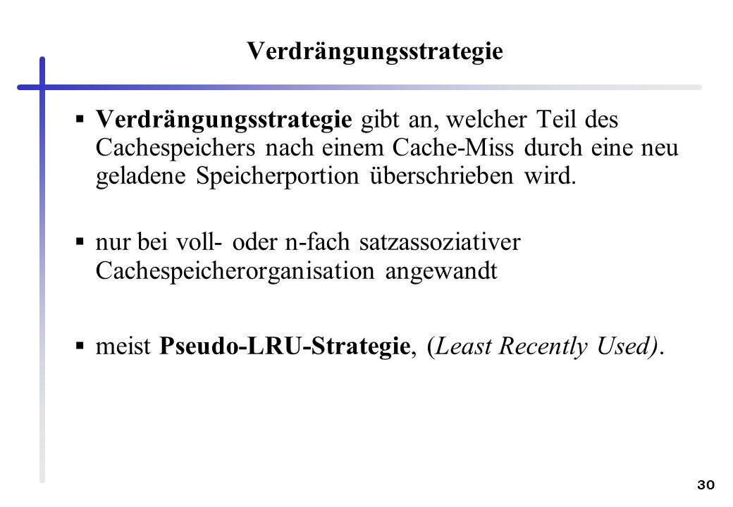 30 Verdrängungsstrategie Verdrängungsstrategie gibt an, welcher Teil des Cachespeichers nach einem Cache-Miss durch eine neu geladene Speicherportion