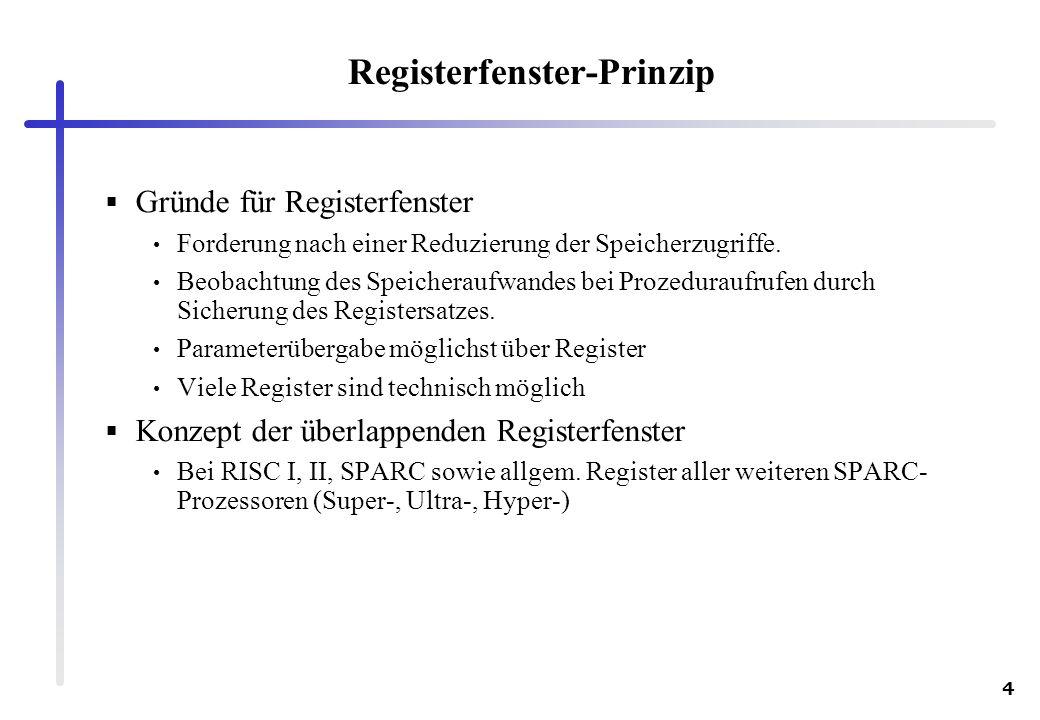 4 Registerfenster-Prinzip Gründe für Registerfenster Forderung nach einer Reduzierung der Speicherzugriffe. Beobachtung des Speicheraufwandes bei Proz