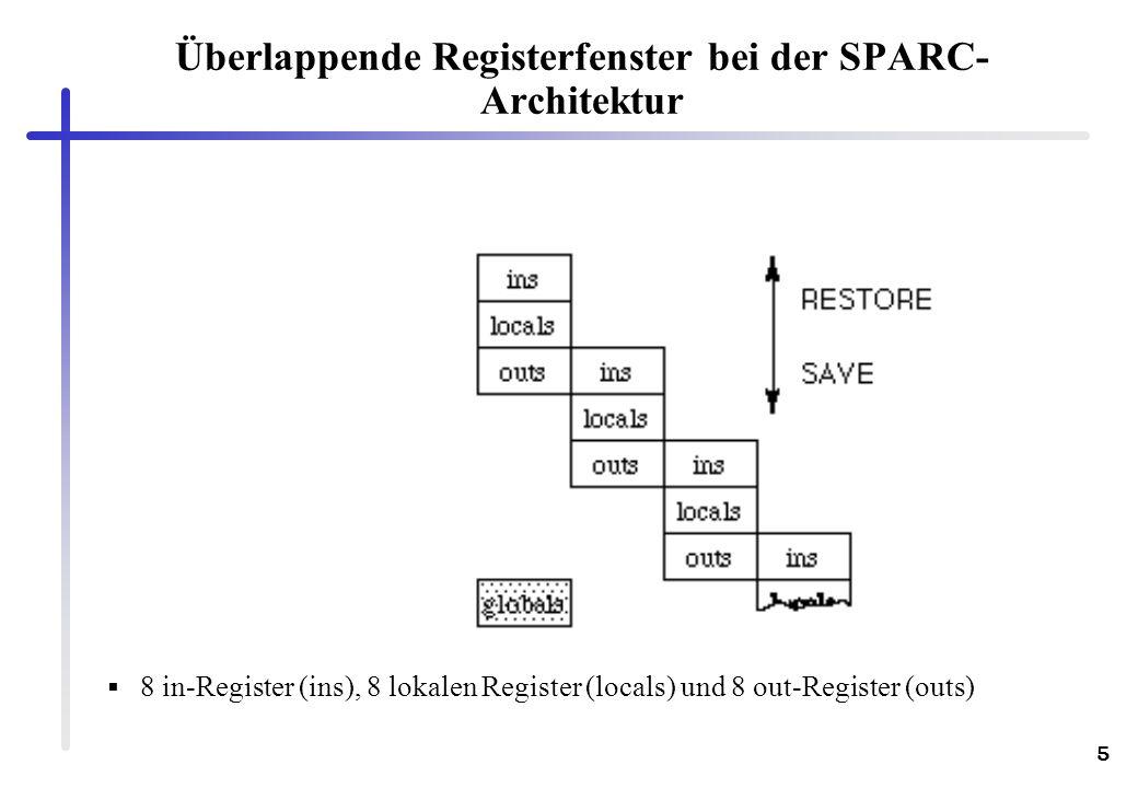5 Überlappende Registerfenster bei der SPARC- Architektur 8 in-Register (ins), 8 lokalen Register (locals) und 8 out-Register (outs)