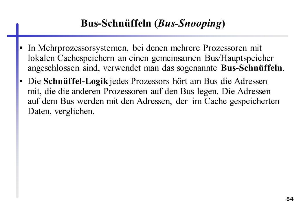 54 Bus-Schnüffeln (Bus-Snooping) In Mehrprozessorsystemen, bei denen mehrere Prozessoren mit lokalen Cachespeichern an einen gemeinsamen Bus/Hauptspei