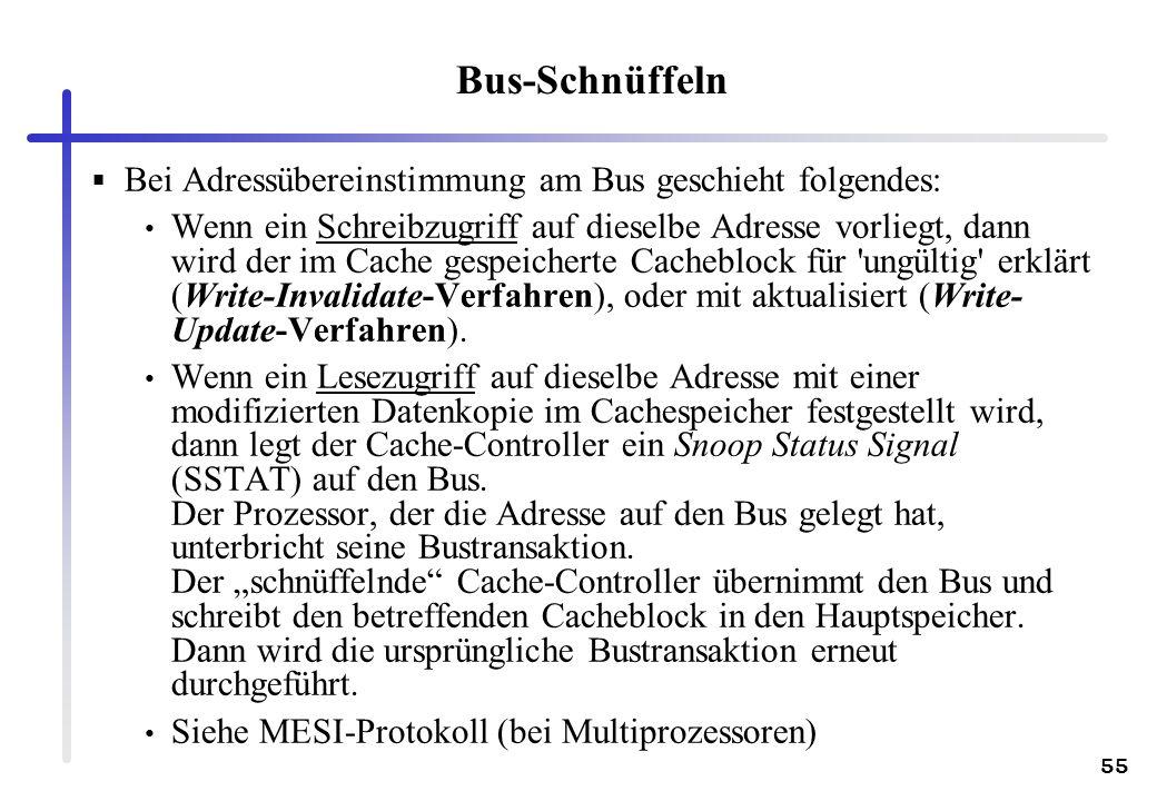 55 Bus-Schnüffeln Bei Adressübereinstimmung am Bus geschieht folgendes: Wenn ein Schreibzugriff auf dieselbe Adresse vorliegt, dann wird der im Cache