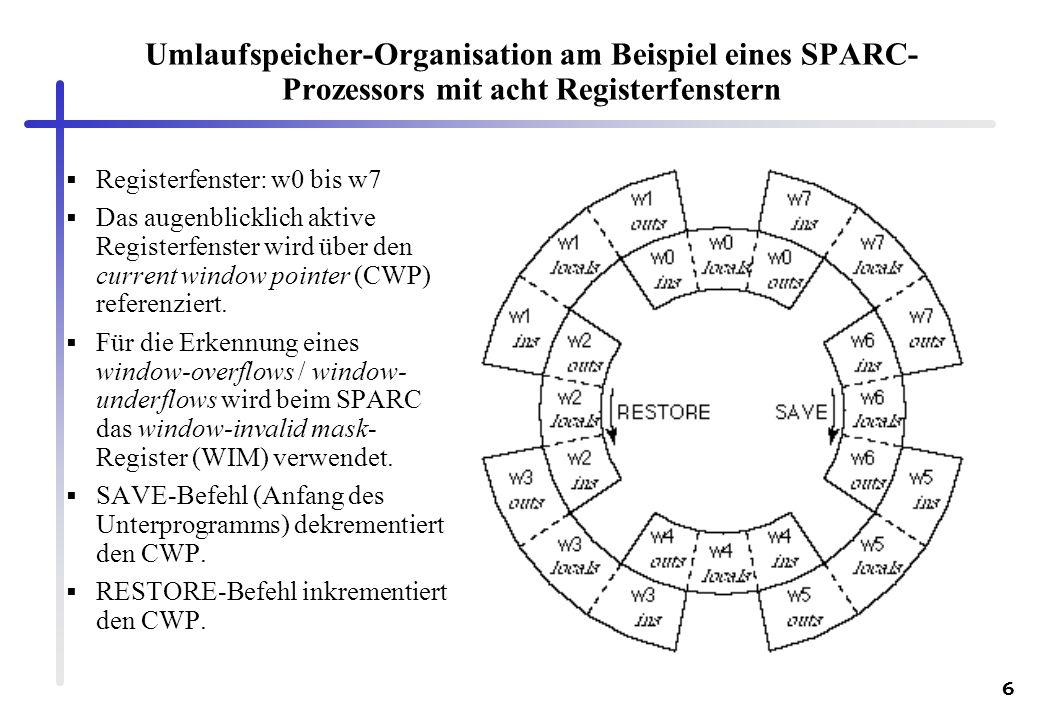 6 Umlaufspeicher-Organisation am Beispiel eines SPARC- Prozessors mit acht Registerfenstern Registerfenster: w0 bis w7 Das augenblicklich aktive Regis