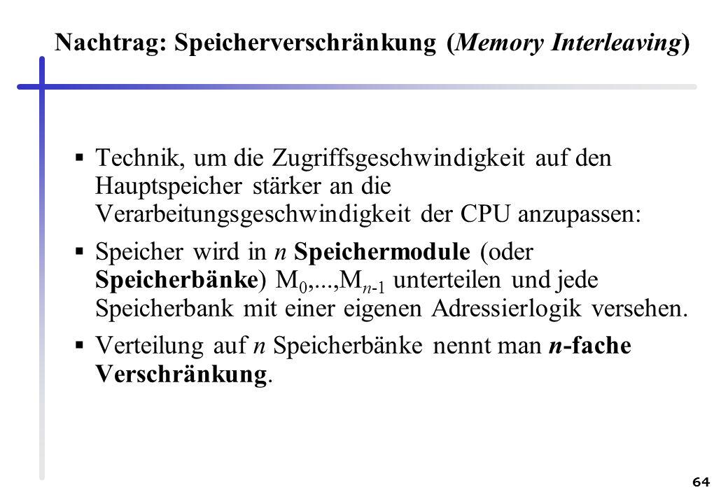64 Nachtrag: Speicherverschränkung (Memory Interleaving) Technik, um die Zugriffsgeschwindigkeit auf den Hauptspeicher stärker an die Verarbeitungsges
