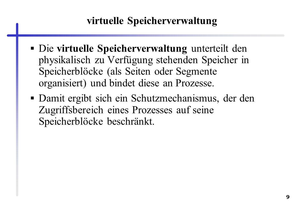 9 virtuelle Speicherverwaltung Die virtuelle Speicherverwaltung unterteilt den physikalisch zu Verfügung stehenden Speicher in Speicherblöcke (als Sei