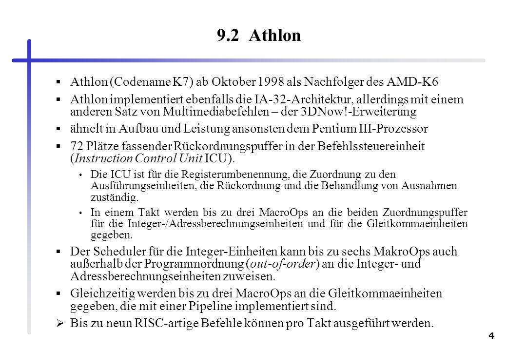 4 9.2 Athlon Athlon (Codename K7) ab Oktober 1998 als Nachfolger des AMD-K6 Athlon implementiert ebenfalls die IA-32-Architektur, allerdings mit einem