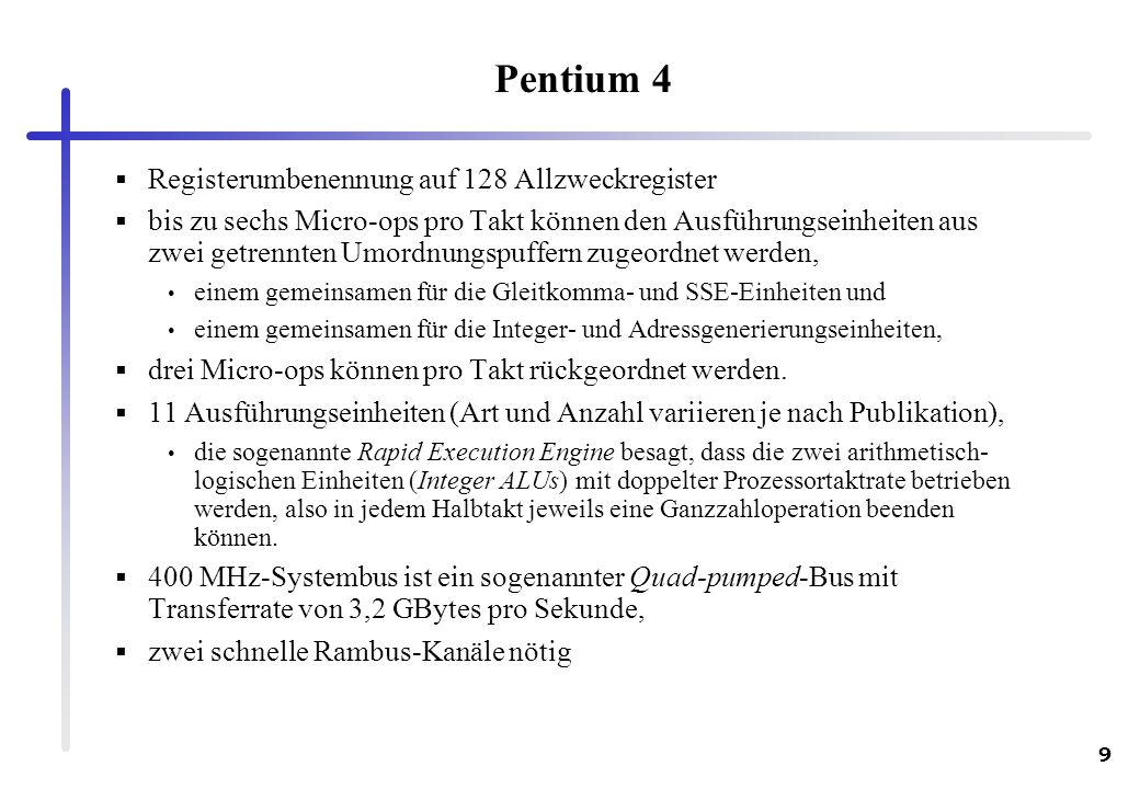 9 Pentium 4 Registerumbenennung auf 128 Allzweckregister bis zu sechs Micro-ops pro Takt können den Ausführungseinheiten aus zwei getrennten Umordnung