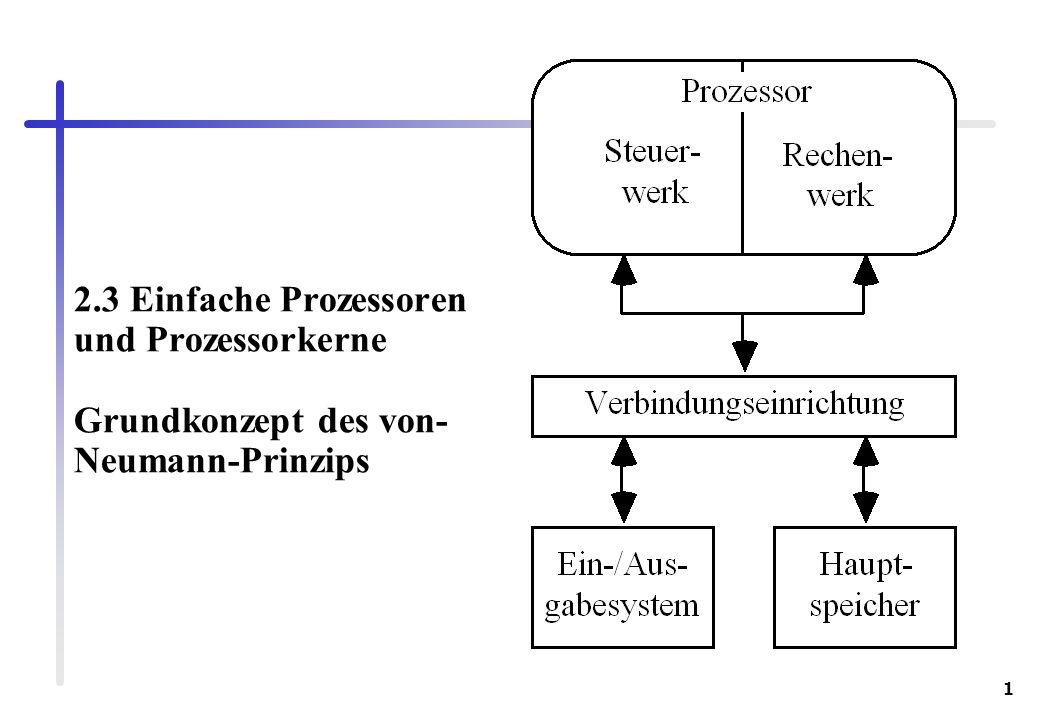 1 2.3 Einfache Prozessoren und Prozessorkerne Grundkonzept des von- Neumann-Prinzips