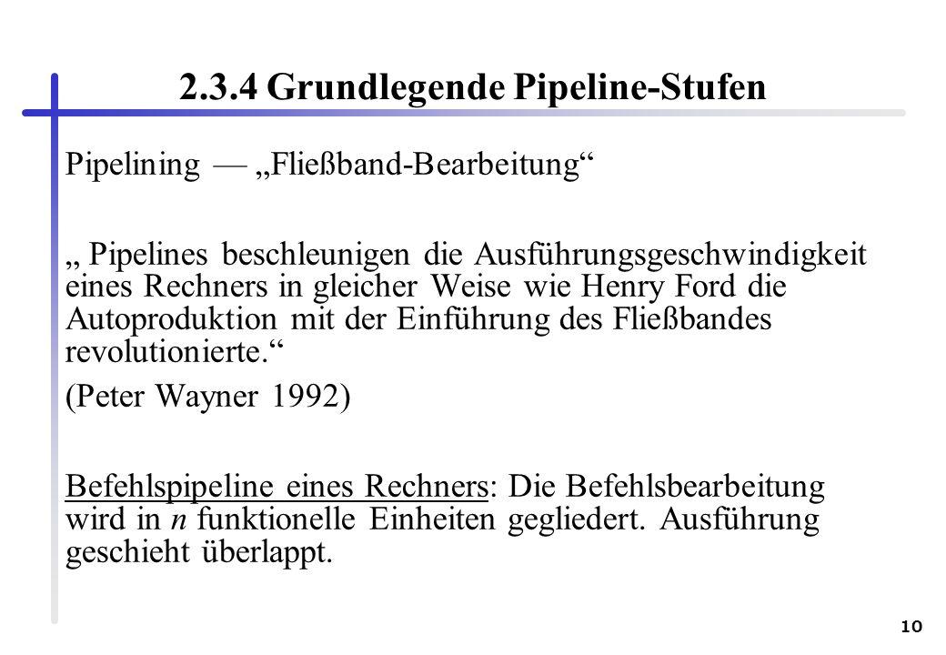 10 2.3.4 Grundlegende Pipeline-Stufen Pipelining Fließband-Bearbeitung Pipelines beschleunigen die Ausführungsgeschwindigkeit eines Rechners in gleich
