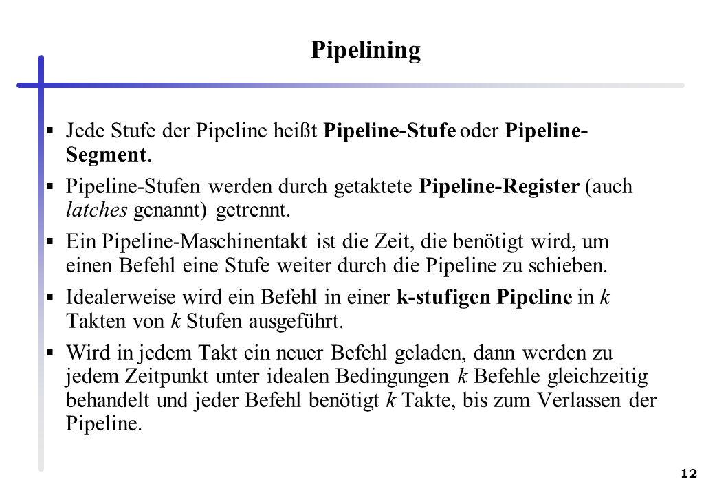 12 Pipelining Jede Stufe der Pipeline heißt Pipeline-Stufe oder Pipeline- Segment. Pipeline-Stufen werden durch getaktete Pipeline-Register (auch latc
