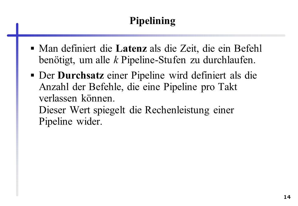 14 Pipelining Man definiert die Latenz als die Zeit, die ein Befehl benötigt, um alle k Pipeline-Stufen zu durchlaufen. Der Durchsatz einer Pipeline w