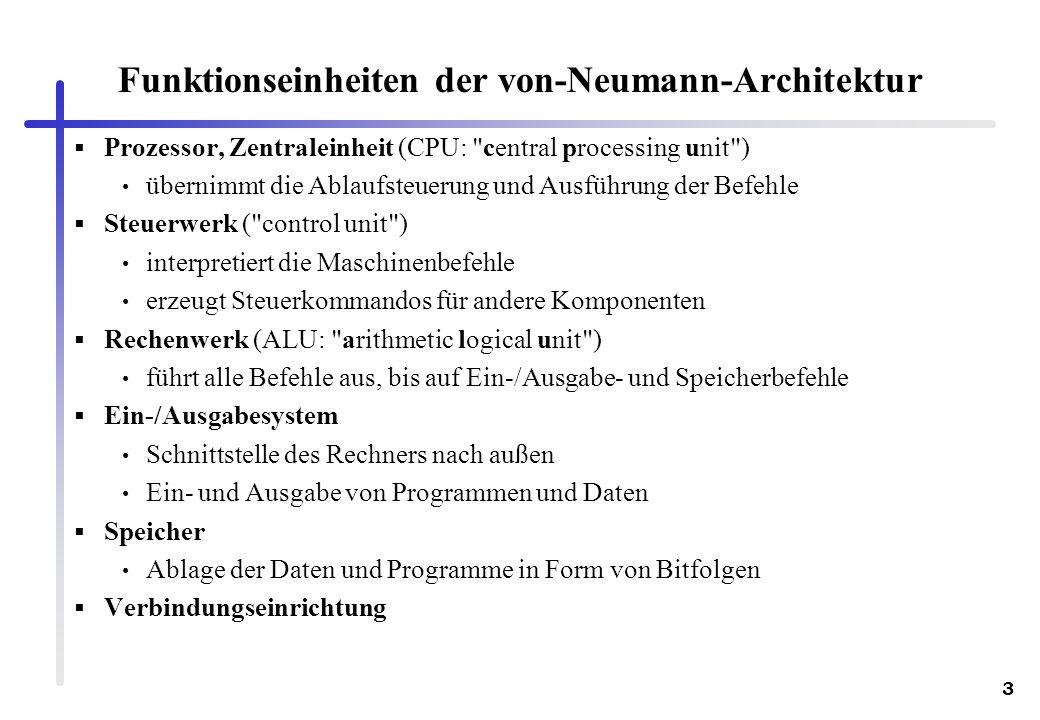 3 Funktionseinheiten der von-Neumann-Architektur Prozessor, Zentraleinheit (CPU: