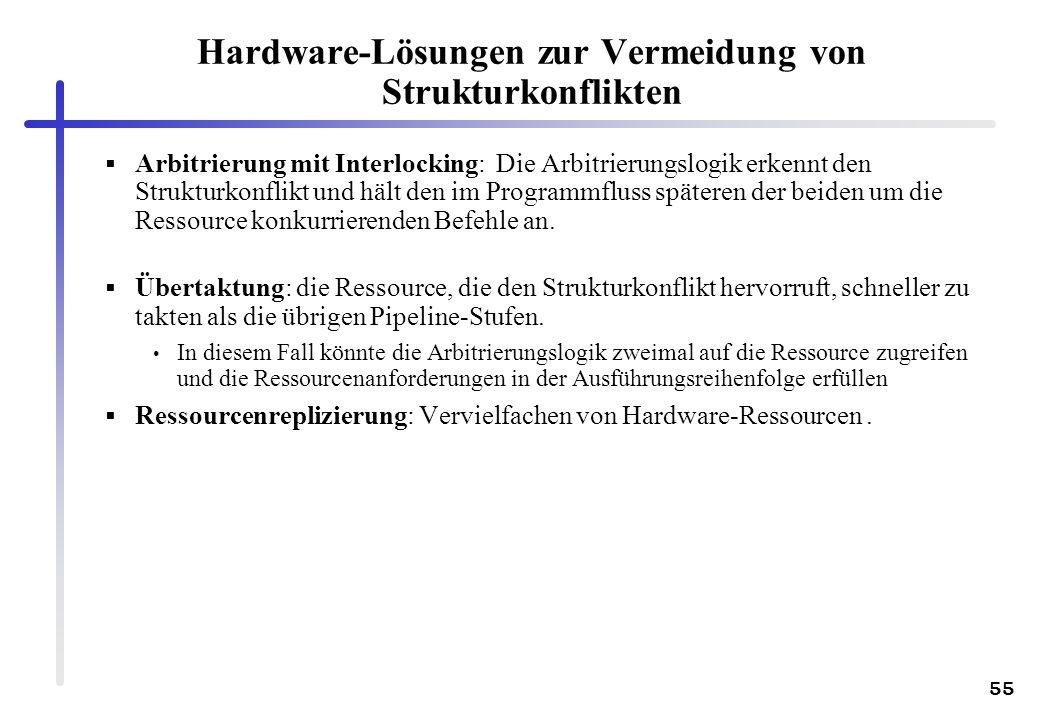 55 Hardware-Lösungen zur Vermeidung von Strukturkonflikten Arbitrierung mit Interlocking: Die Arbitrierungslogik erkennt den Strukturkonflikt und hält