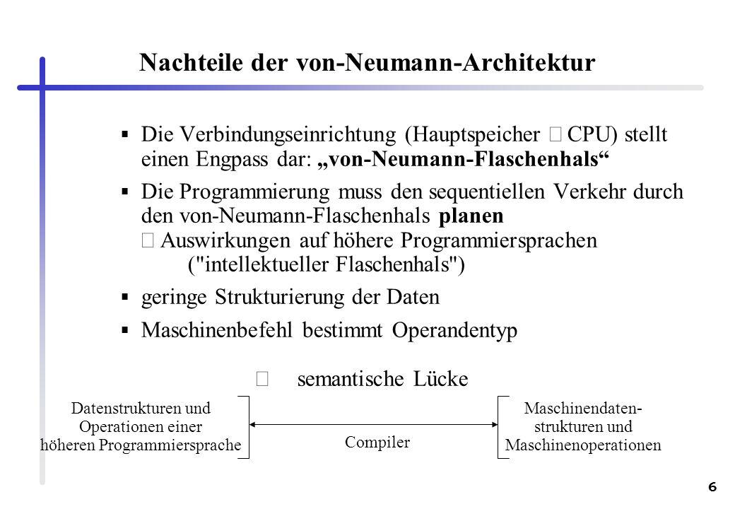 6 Nachteile der von-Neumann-Architektur Die Verbindungseinrichtung (Hauptspeicher CPU) stellt einen Engpass dar: von-Neumann-Flaschenhals Die Programm