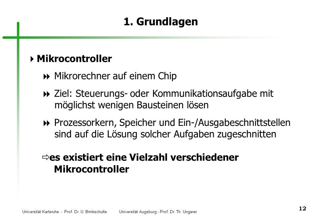 Universität Karlsruhe - Prof. Dr. U. Brinkschulte Universität Augsburg - Prof. Dr. Th. Ungerer 12 1. Grundlagen Mikrocontroller Mikrorechner auf einem