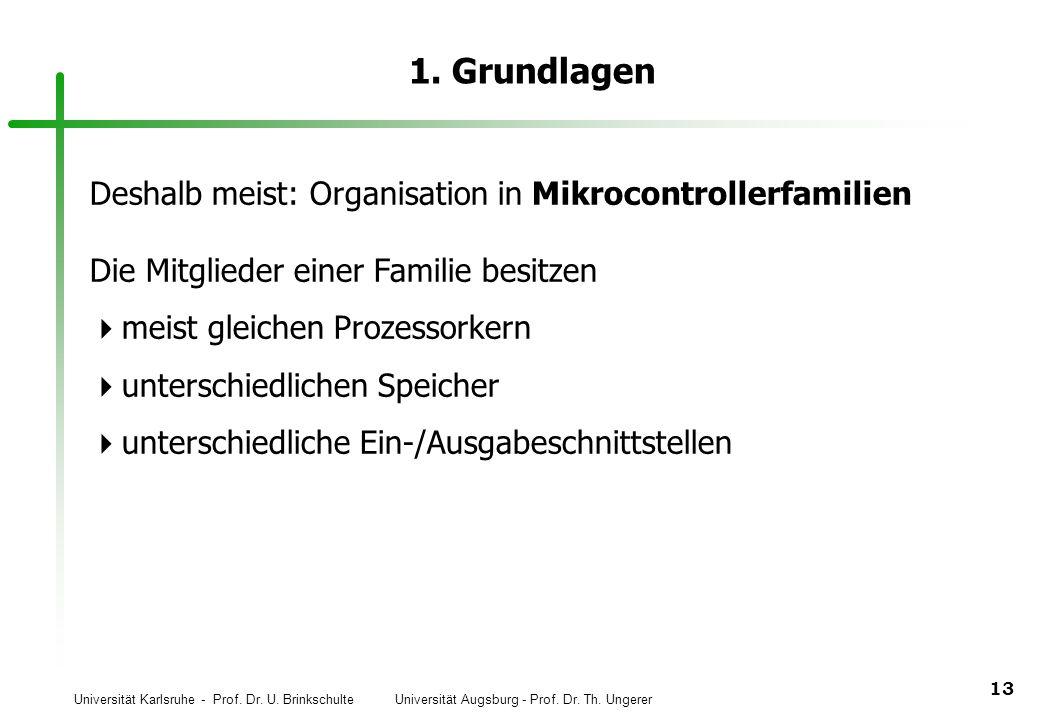 Universität Karlsruhe - Prof. Dr. U. Brinkschulte Universität Augsburg - Prof. Dr. Th. Ungerer 13 1. Grundlagen Deshalb meist: Organisation in Mikroco
